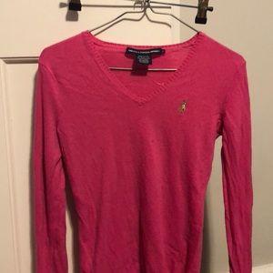 Pink Ralph Lauren Vneck Sweater